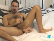 Flirt4Free Antonio West - Bearded Hunk Fucks His Ass and Cums on Hairy Abs