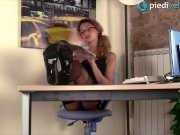 Redhead secretary in stockings crazy shoeplay under the table