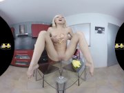 Russian blonde Lola Shine takes cleaning to the next level as she fingers h