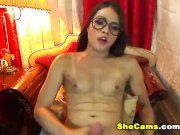 Nerd Shemale With Big Cock On Cam