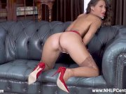 Sexy ass brunette Jess West fingering tight pussy in garters nylons heels