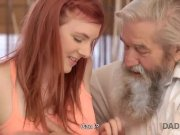 DADDY4K. Lovely redhead has crazy sex with old man while watching TV