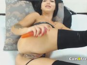 Horny Brunette Wildly Plays Pussy