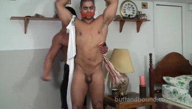Muscle hunk bondage session