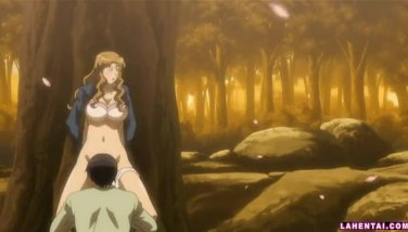 Hentai girl gets licked and fucked outdoors