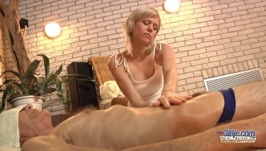 Nasty sweet girl ease old man with pussy rub 7