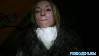 PublicAgent Skinny blonde fucked outside
