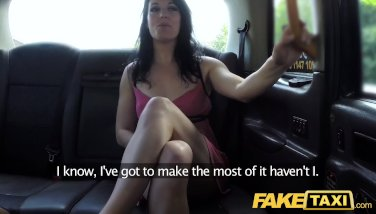 Fake Taxi Soaking wet creampie for hot brunette on first date in taxi cab
