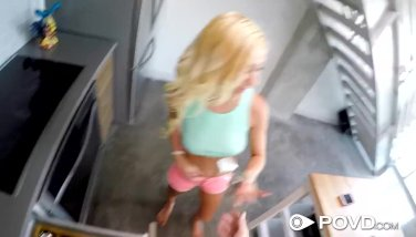 POVD Petite blonde Kenzie Reeves big dick fuck and facial