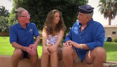 Two Grandpas bang a blonde hair young girl and lick her pussy lips