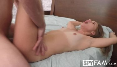 SpyFam Step sister Lilly Ford shocked by step brothers big dick