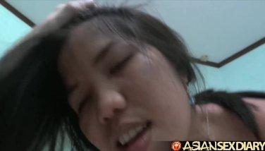 Asian Sex Diary - Big white cock slams two young Filipina sluts