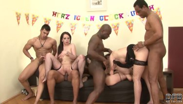 Birthday party turns in amateur orgy with sluts taking dick in the ass