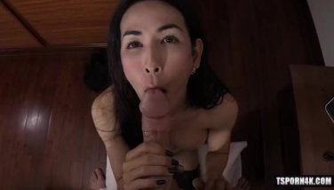 Asian ladyboy pov with cumshot