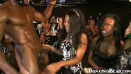 Girls sucking strippers at party Girls having fun with masked ebony stripper