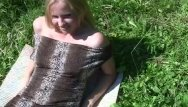 Pantyhose and fishnets Blonde in fishnet pantyhose fucked on a meadow