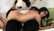 Adult plush slippers - Sexy chick fucks with big plush bear