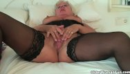 Chubby woman naked Chubby grandma in stockings rubs her clit
