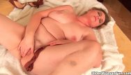 Breast implant woman Grandma with large breasts and unshaven pussy