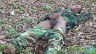 Gay military twinks Young gay commando flashes alfresco