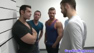 Gay virtureal men Gaysex orgy hunks blow during mugshot