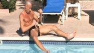 Pool boy gay Brodie beats off penis around the pool