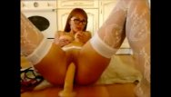 Suction cup dildos girls ride glass - Pretty cam girl in glasses rides huge dildo