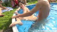Sexy blonde in a garden Amateur massive open air orgy
