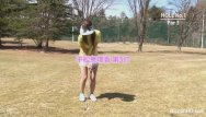 Golf grip right thumb Cute asian girls play a game of strip golf
