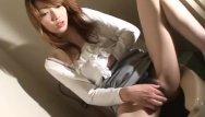 Teen girl wanks Asian brunette on the toilet wanks on her cli