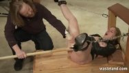Femal sex slave Tied blonde sex slave given orgasms by master