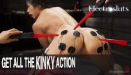 Bikini electrical tape Electric pussy licking and torment