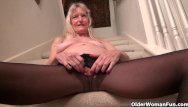 Hairy clair dee Granny claire gets naughty on the stairs