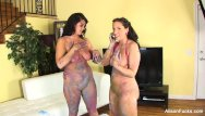 Naked body painted men videos Busty alison and kelly shower off their body paint