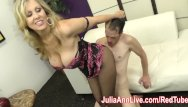 Srocking milf - Milf julia ann makes slave cum on her stockings from footjob