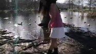 Teen sleep duck - Cute asian teen dances around the duck filled pond