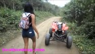 Ass bad quad Heather deep 4 wheeling on scary fast quad and peeing next to horses in the
