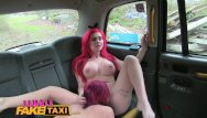 Sexy tattoo chicks Female fake taxi two busty chicks with wild hair and tattoos get naughty