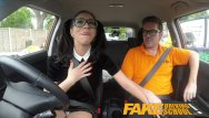 Julia is sexy Fake driving school - sexy spanish learner sucks big cock for lessons