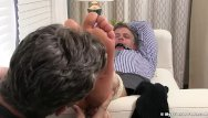 Aged gay Aged yuppie brendan cage is restrained and foot worshipped