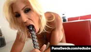 Diner tits - Sex crazed euro babe puma swede pounds her pussy in a diner