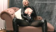 Womans ultra naked cowhide leather gloves with studs Nylon clad blonde rubs her soft leather gloves against big tits wet pussy