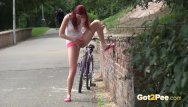 Crewson suddenly naked Sexy redhead babe kattie gold is out cycling when she feels sudden pee desp