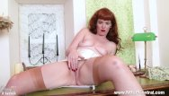 Gallery leg nylon tgp - Redhead babe zoe page strip teases showing off nyloned legs bare trim pussy