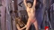Vintage submissive masochist - Lesbian femdom playing with her restrained submissive