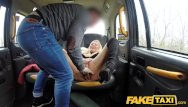 Impaled through vagina - Fake taxi sweet blonde milf fucked through ripped tights on back seat