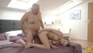 Red t strip Daddy4k. red-haired gal couldnt resist to charms of handsome old man
