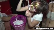 Depraved and shaved Depraved teen drinks cum from used condoms dp in real orgy