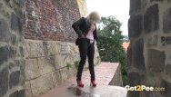 Panty peeing pictures Blonde nearly gets caught wetting her panties in public