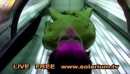 Adult tv stories - Hot horny girl masturbates in public solarium spy hidden voyeur cam